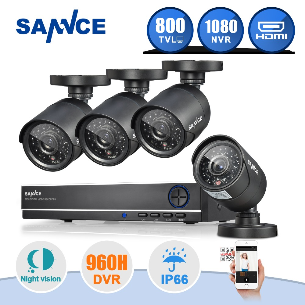 SANNCE 8CH DVR 960H 1080P Output HDMI CCTV System 4PCS 800TVL Home Security Waterproof Night Vision Camera Surveillance Kits(China (Mainland))