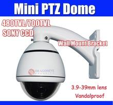 "Mini SONY CCD Speed Dome Camera Vandalproof 4"" PTZ Dome 10X Zoom 256 Presets 480TVL 700TVL Security Camera(China (Mainland))"