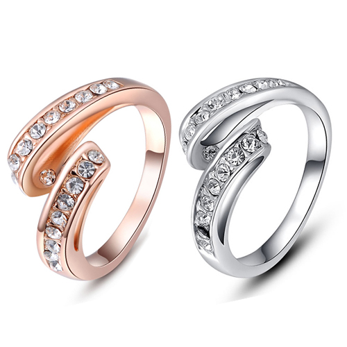 New Arrival Women's Wedding Jewelry 9K Gold Plated Crystal Rhinestone Shining Cocktail Ring(China (Mainland))