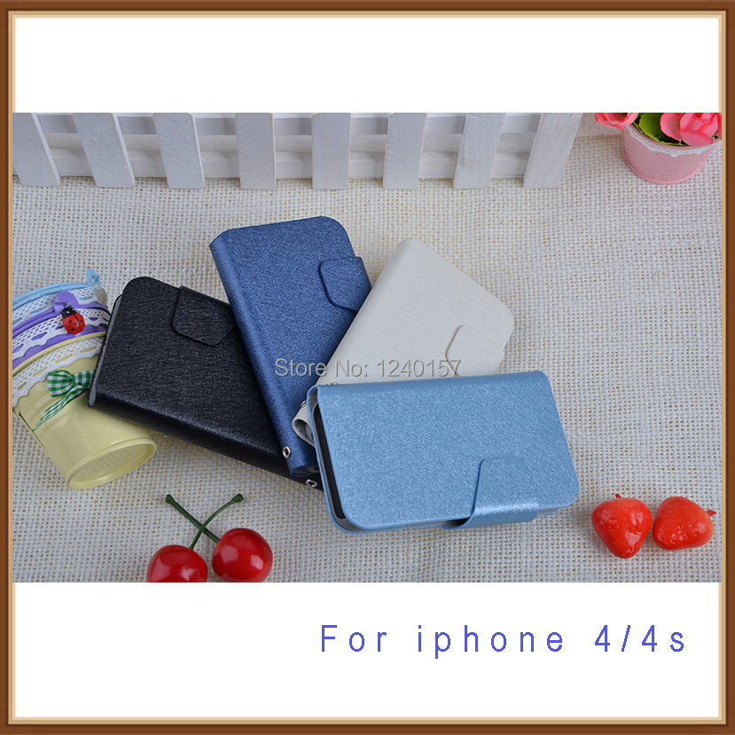 Free shipping wholesale supplier mobile phone case for iphone 4 4s 4G wallet bags design with holder 2014 hot selling !!!(China (Mainland))