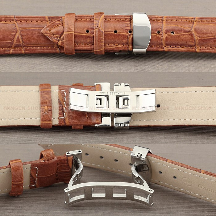 Classic Light Brown 12/14/16/18/20/22/24mm Genuine Leather Strap Durable Deployant Steel Push-Button Hidden Clasp Men Watchband - Joyce's Time House store