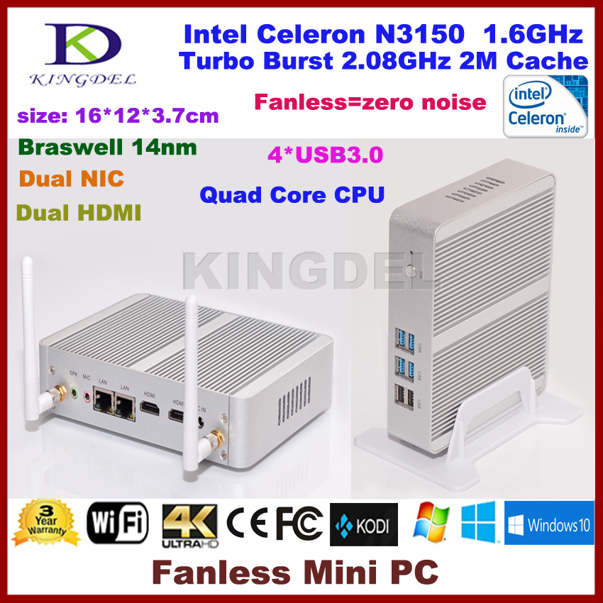 2016 Latest Intel NUC Celeron N3150 Braswell Fanless Mini PC Desktop Computer, 4GB RAM, 300M WiFi 4*USB 3.0 Dual HDMI LAN(China (Mainland))