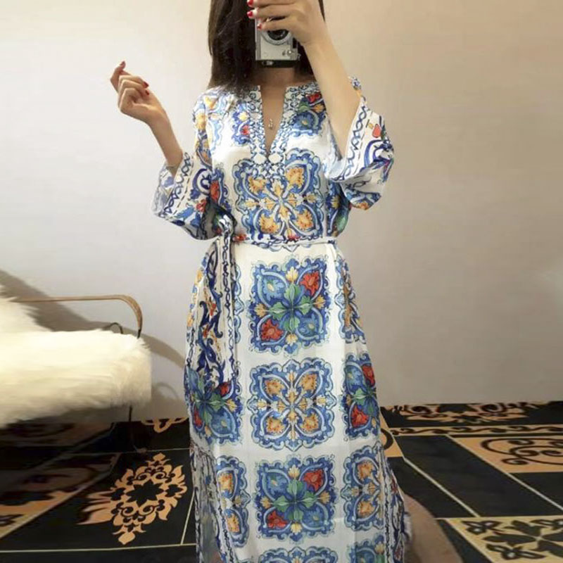 HIGH QUALITY New Fashion 2016 Spring Summer Runway Maxi Dress Women's V-neck Long Sleeve Vintage Floral Slit Long Dress