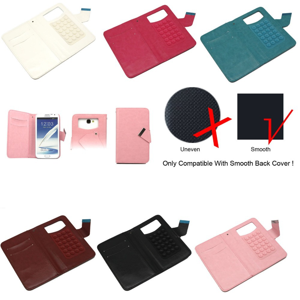 Universal Leather Wallet Flip Case Cover With 24 Suction Cup for 5.5'' Inch Phone Free Shipping(China (Mainland))