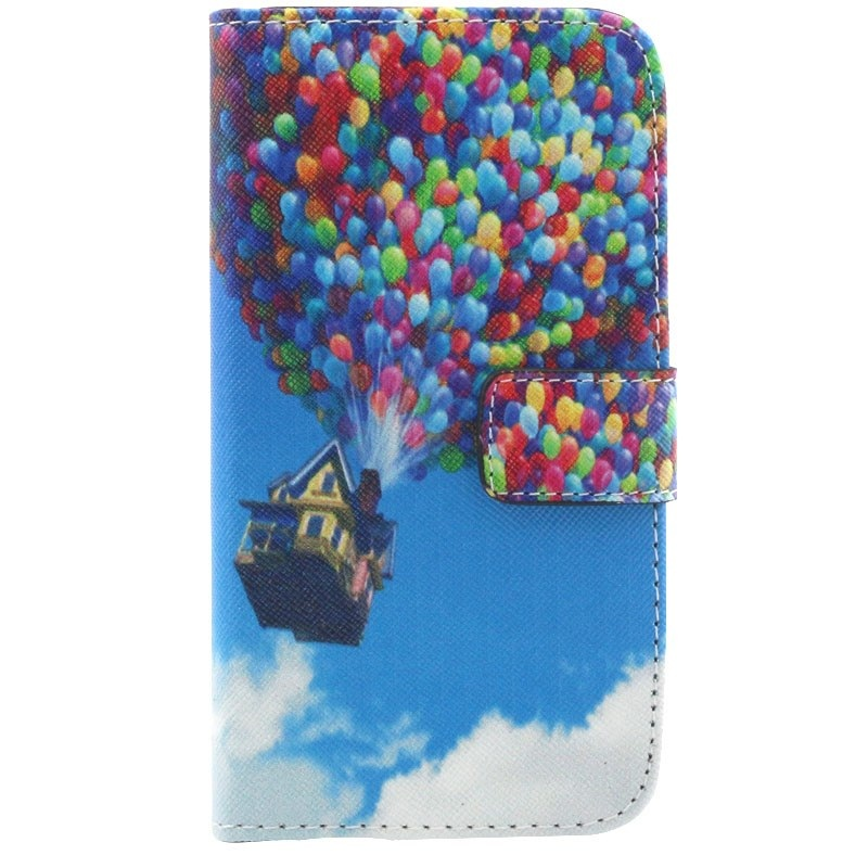 For LG Optimus G2 Case Colorized Leather Wallet Stand Shell Cover for LG G2 D800 D801 D802 - Movie Up Flying House with Balloons(China (Mainland))