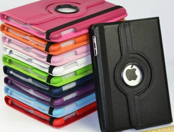 Luxury Rotating Magnetic Leather Stand Case For IPAD2 IPAD3 IPAD4 Cover Free Shipping(China (Mainland))