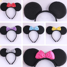 Christmas Decorations Mouse Ears with Bows Headbands Party Supplies Festive Headwear Girls Hairband New Year Celebration(China (Mainland))