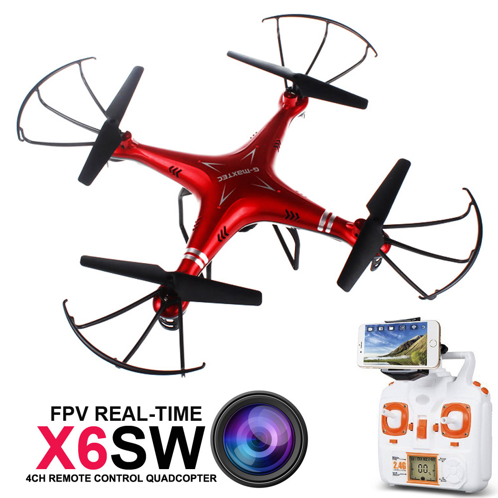 Free shipping X6SW WIFI FPV RC UAV with camera Real - time Transport video RC Helicopter Drones Quadcopter (RED)(China (Mainland))