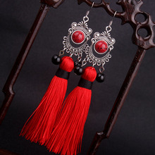 Big star traditional Miao silver Fringes tassel dangle earrings red  , New Chinese wind Ethnic earrings jewelry red(China (Mainland))