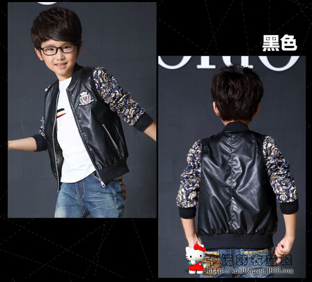 Top Quality Brand Designer Children Outerwear Baby Boys Girls PU Leather Jacket autumn Toddlers Kids Fur Coat(China (Mainland))