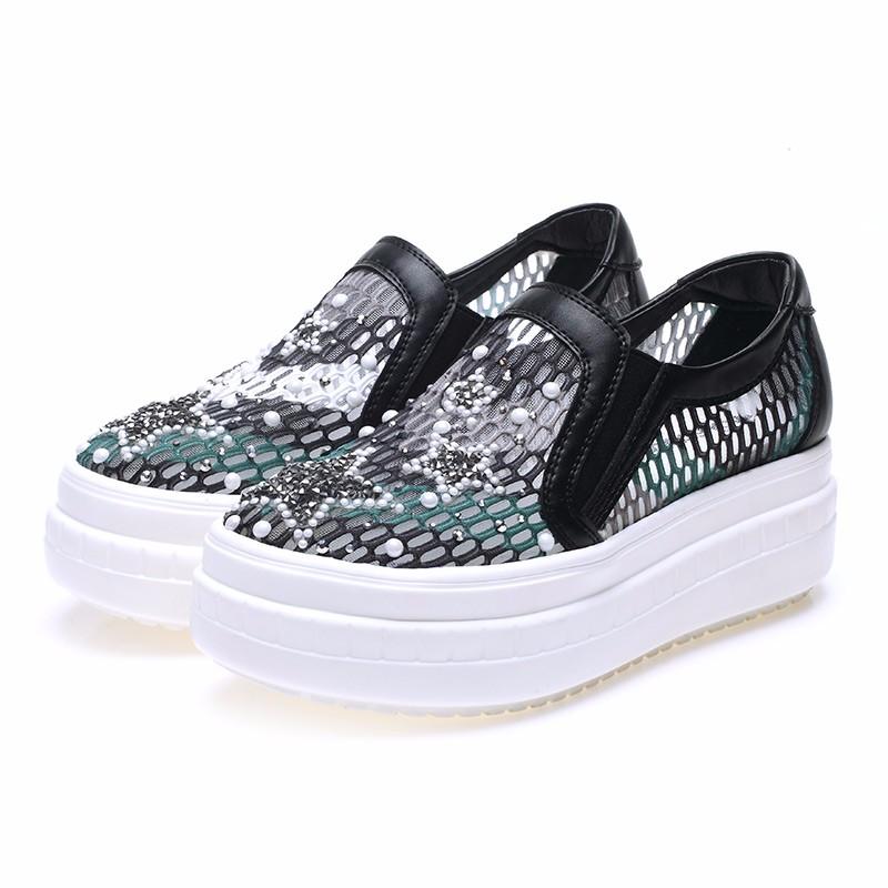 ซื้อ รองเท้าผู้หญิงแฟชั่นใหม่ผู้หญิงรองเท้าสีดำ/สีขาวสหรัฐขนาด4.5-8.5ผู้หญิงรองเท้าตาข่ายอากาศฤดูร้อนรองเท้า6C119-3