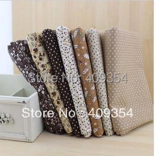 FREE SHIPPING 7 Pieces/lot 50cm x 50cm Vintage brown Cotton Fabric Fat Quarter Bundle Patchwork Fabric Tilda Cloth Quilting(China (Mainland))