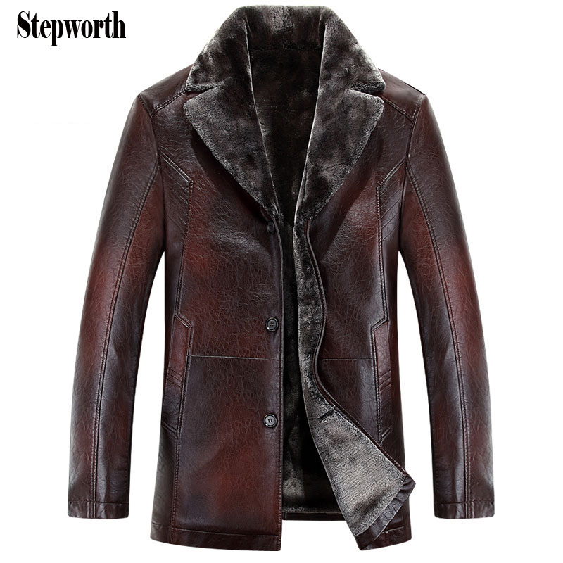 Men PU Leather Motorcycle Jacket Russian Minus 40 degree 2015 Winter Faux Fur Casual Leather Coat M0464(China (Mainland))