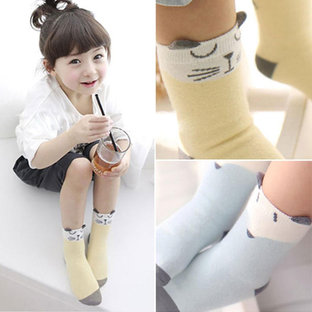 Cartoon Newborn Cotton Fox Cat Printed Anti-slip Knee Socks Kids Baby Socks
