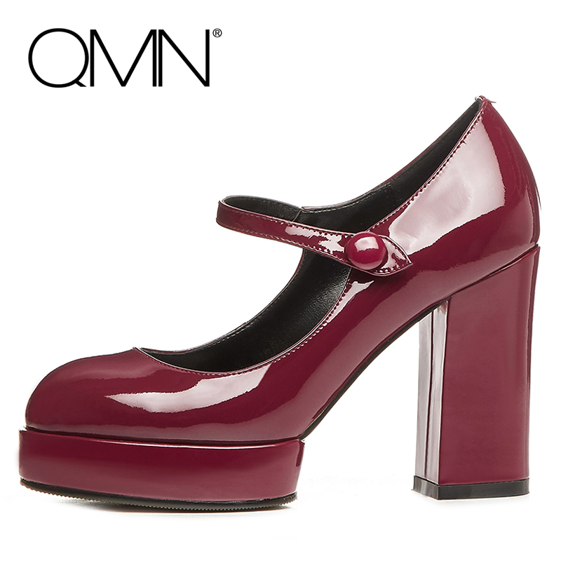 QMN genuine leather women pumps Women High-Heeled Mary Janes Shoes Woman Platform Heels Ladies Dress Pumps Zapatos Mujer 34-39(China (Mainland))