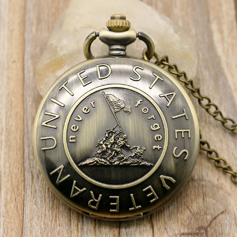 """Remember The History """"United States Veteran"""" Farmer Bronze Pocket Watch Chain With Necklace Free Shipping P978(China (Mainland))"""