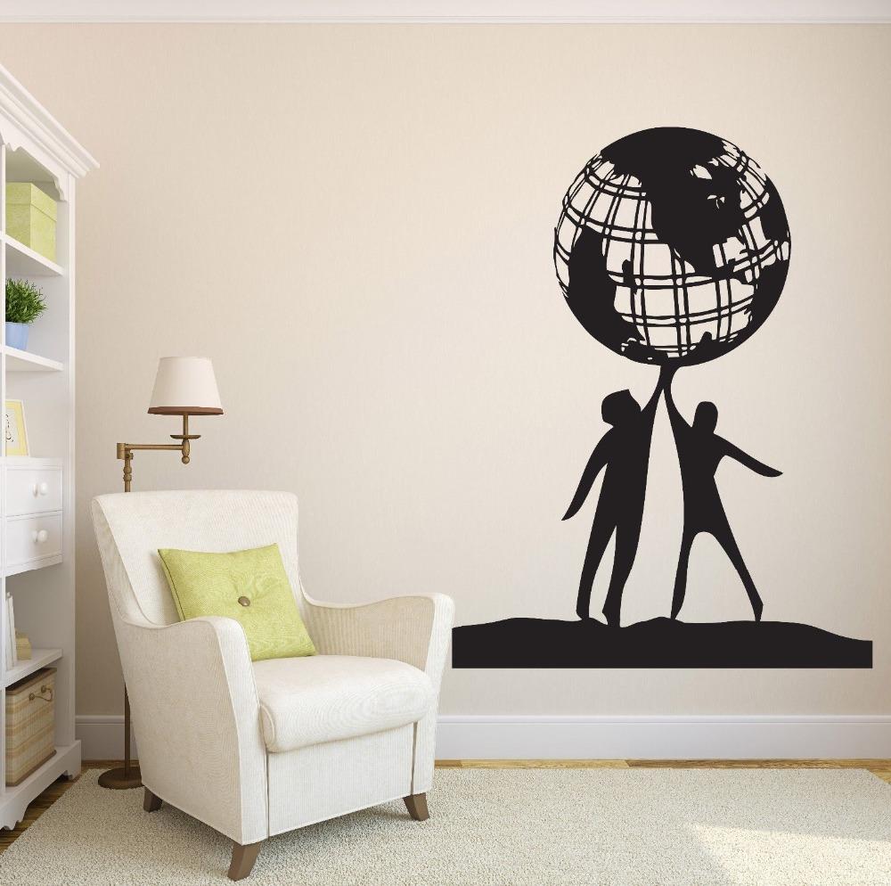 People World Friendship Earth Globe Planet Peace Vinyl Wall Sticker home decor Wall Decal wallpaper wall art(China (Mainland))