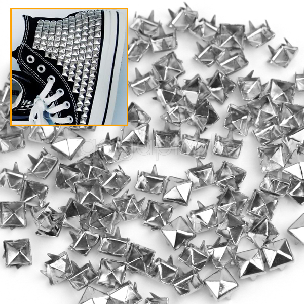100 Silver 6mm Rock Pyramid Studs Goth Spots Punk Nailheads Spikes Bag Shoes Clothing DIY Craft Sewing Accessories(China (Mainland))