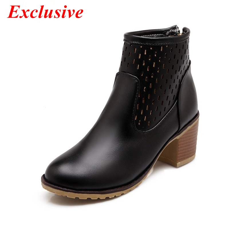 Ankle boots women's boots 2015 The latest autumn winter fashion zipper boots Duantong woman Charming sexy spell color Breathable