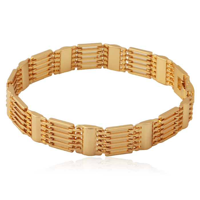 Chunky Bracelets New Men or women Gift 2 Colors Options Trendy 18K Real Gold & Platinum Plated Copper Men Jewelry YH423(China (Mainland))