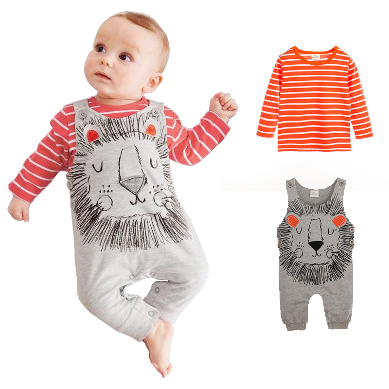 New 2Pcs Winter Animal Printed Baby Rompers For Boy Girl with Casual 100% Cotton Long Sleeve Newborn Babies Clothing & Body suit(China (Mainland))
