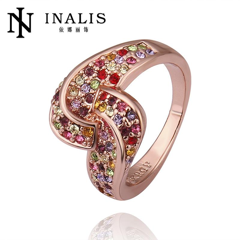 Trendy Austrian Crystal Rings Wedding Korean Couple Ring For Women 18k Gold Plated Beaded