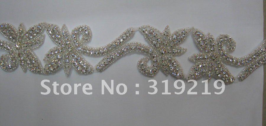 "Silver bridal rhinestone Crystal Beaded Trims Fashion Bridal wedding Costume Applique hairband sash belt hat decoration 2.0""W(China (Mainland))"