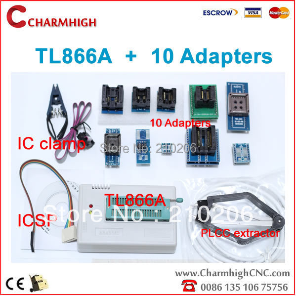 hot sale! TL866A programmer + 10adapters + IC clamp, support 13143+ AVR/PIC ICSP SPI in-circuit, support win7,win8...(China (Mainland))