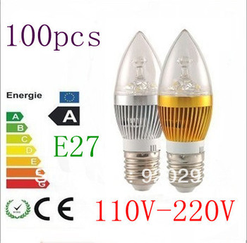 100pcs/lot  Dimmable AC85~265V E27 E14 3X2W 6W 3x3W 9W LED Candel Light LED bulb lamp LED spot Light