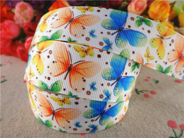 15060606, 1'' (25mm) 10 yards butterfly printed grosgrain ribbons cartoon ribbon hair accessories tape(China (Mainland))