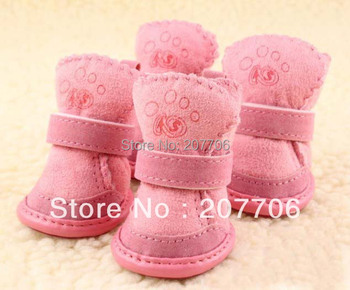 Lovely Pink Suede Pet Shoes Dog Boots