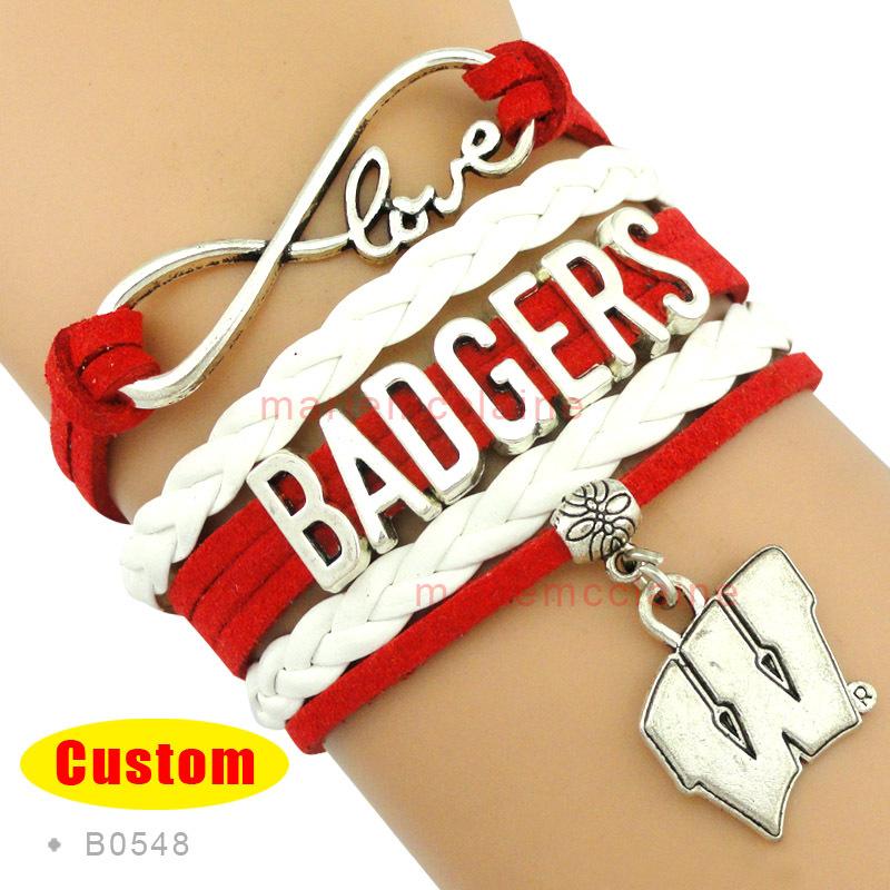 (10 Pieces/Lot) Infinity Love NCAA Wisconsin Badgers Team Sports Bracelet Cardinal White - Custom Any Bracelets - Drop Shipping(China (Mainland))