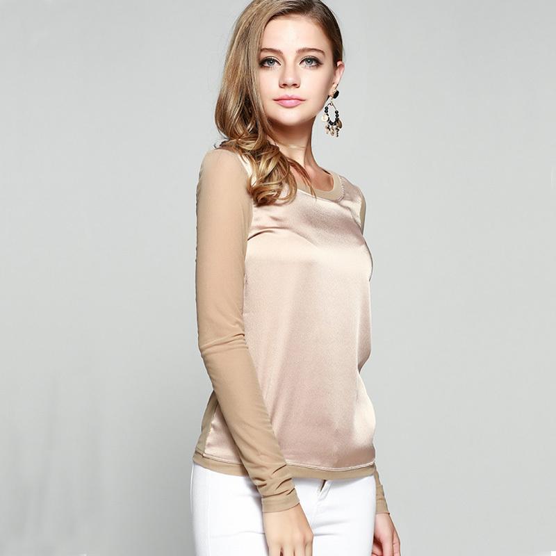 Women's shirts Blouses 2015 long sleeve formal chiffon blouses white black 9 clolor silk tops and tees slim Y046(China (Mainland))