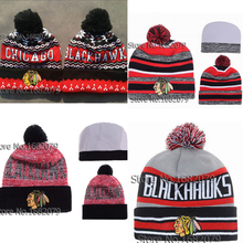 12 colors Top Quality Chicago Blackhawks Sports team Knitted Hats Fashion Winter Hockey Skullies Pom beanies