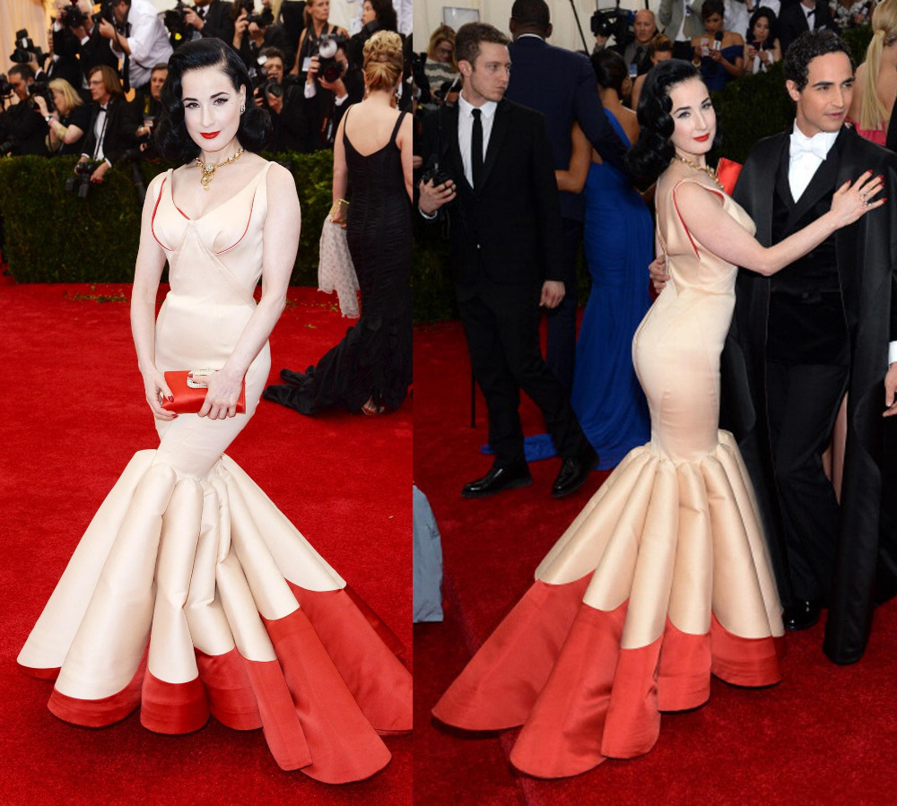 Dita von Teese 2014 Cannes Red Carpet in champagne and red mermaid sexy gown with V neck floor length Long evening dresses(China (Mainland))
