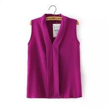 Blusas femininas 2015 neue mode frauen bunte v hals sommer chiffon blusen niedlich ärmellose t-shirts casual slim marke tops(China (Mainland))