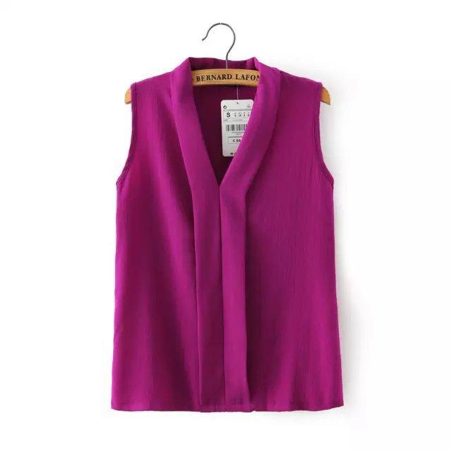 Blusas Femininas 2015 New Fashion Women's Colourful V Neck Summer Chiffon Blouses Cute Sleeveless Shirts Casual Slim Brand Tops(China (Mainland))
