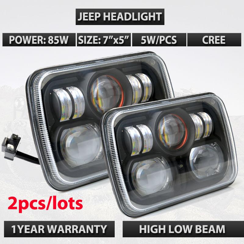 Black 7x5 led sealed beam used for Wrangler JK TJ LJ truck offroad XJ led offroad light H/L led headlight 2pcs/lot Free shipping(China (Mainland))