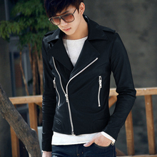 Stylish Men Jacket Faux Leather Punk Rock Motorcycle Zipper Slim Outerwear Coat Free Shipping(China (Mainland))