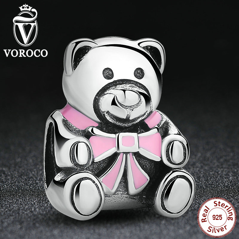 Present Authentic 925 Silver It's A Girl Teddy Bear, Pink Enamel Charm Fit Pandora original Bracelets Jewelry Accessories S219(China (Mainland))