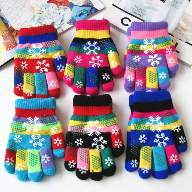 Осенью и зимой дети утолщаются тепловой пряжи трикотажные перчатки мальчик и девочки ...