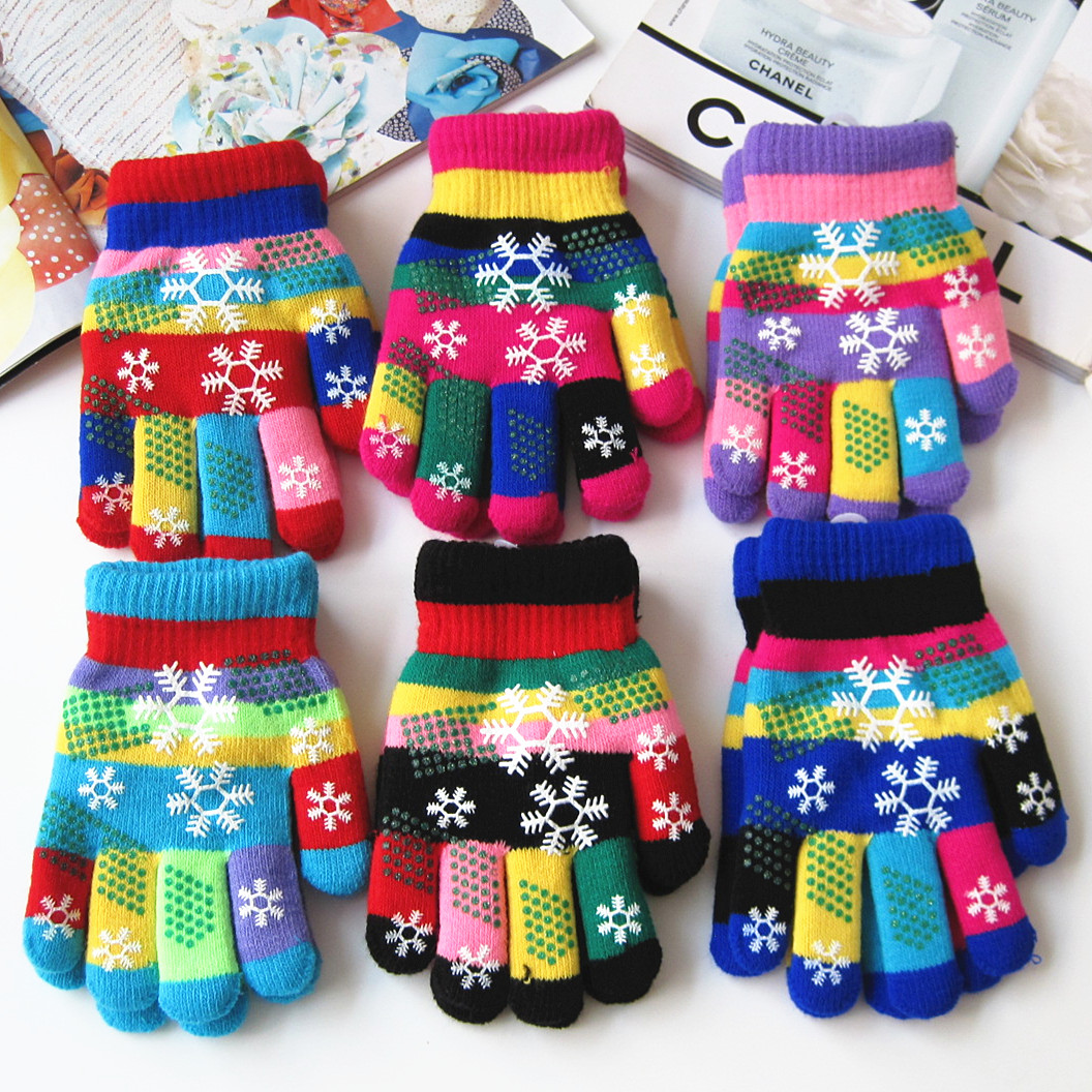 Autumn and winter kids thicken thermal yarn knitted gloves boy and girls snow print colorful gloves kids winter gloves(China (Mainland))