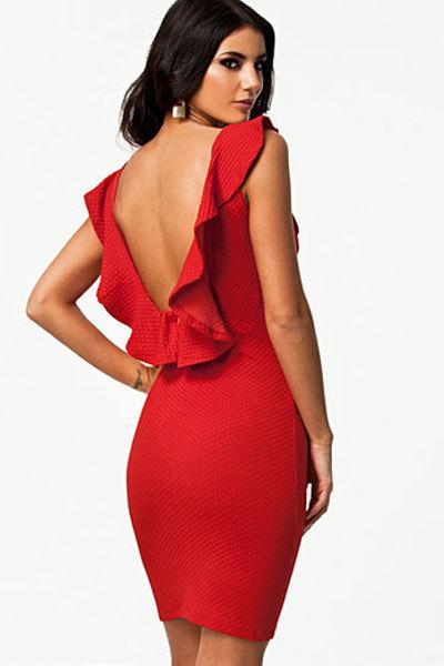 Твердые плюс размер выдалбливают Благородный Черный/Красный Текстурированный Bodycon Платье с Раффлед Спинки платье 2016 vestidos зима платье LC21078