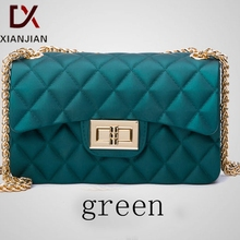 Xianjian Quilted PVC Jelly Chain Shoulder Sling Bag Summer Quilt Elegant lady Sling Bag (XJNB98)(China (Mainland))