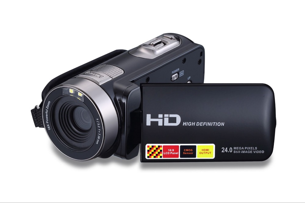 2016 1080P Full HD 16x Digital Zoom Digital Video Camera Camcorder with LCD Night-shot Max.24MP Support Face Detection(China (Mainland))
