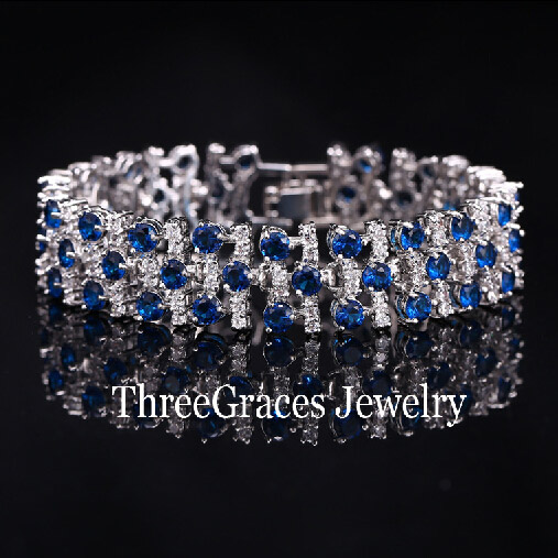 2015 Fashion White Gold Plated Luxury White And Blue Sapphire Simulated Diamond Big Bracelets Bangles For Women BR038<br><br>Aliexpress