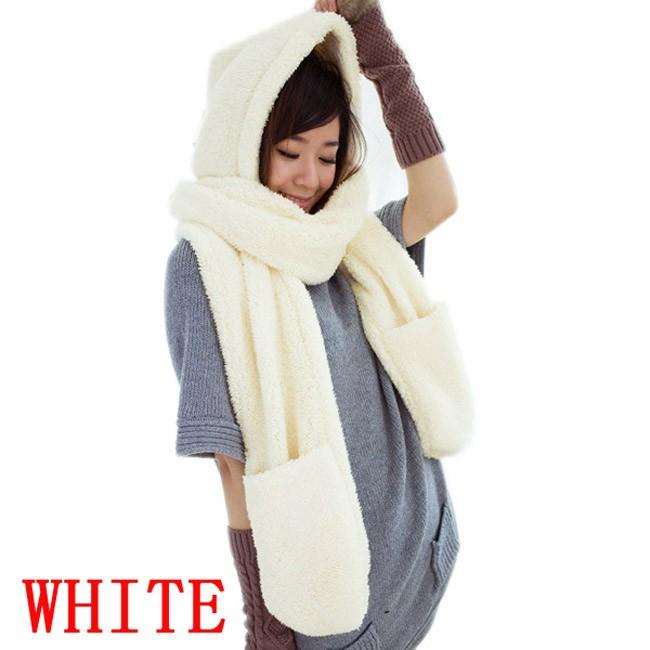 100pcs/lot Winter Warm Women Hoodie Gloves Pocket Earflap Hat Long Scarf Shawl Snood Wraps Set