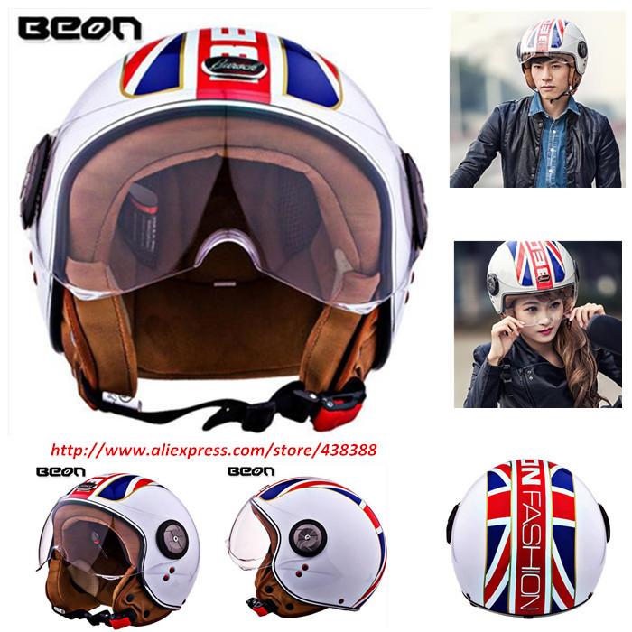 moto helmet beon brand capacete motorcycle male female vintage motorcycle helmets ECE approved cross jet visor lens transparent(China (Mainland))