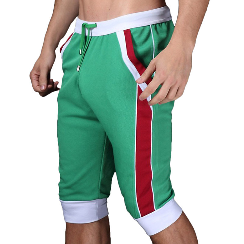 1pcs WJ brand men shorts cotton beach boxer sexy sports wear baseball surf capri designer running shorts 2015 new gay gym trunks(China (Mainland))