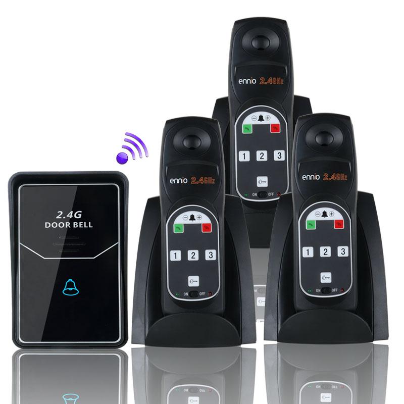 FREE SHIPPING 2.4G Digital Wireless Intercom System Door Bell wireless remote unlock 3 Indoor(China (Mainland))